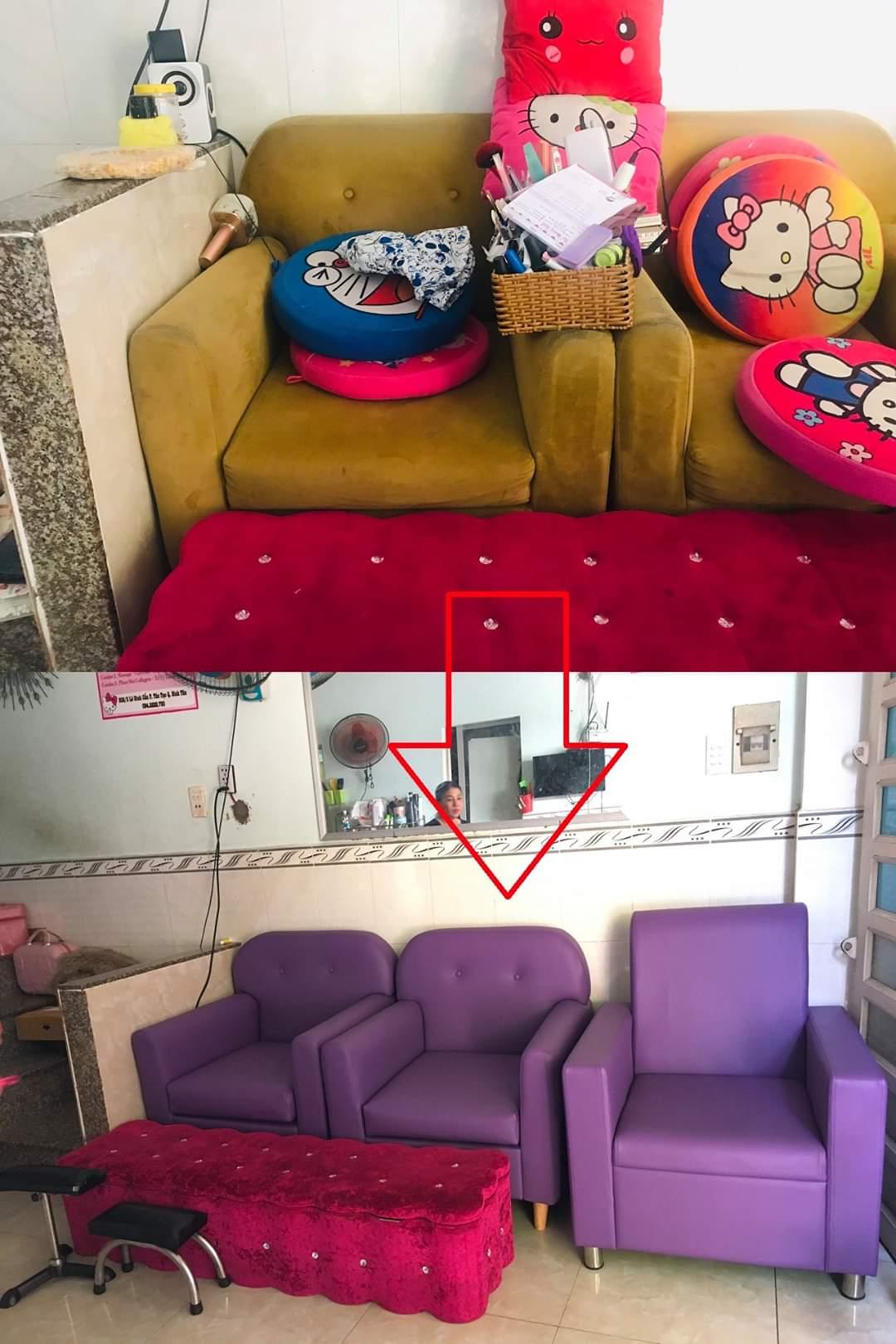 Bọc lại ghế sofa cho cửa hàng chị Yến tại Đường Phạm Hùng, Quận 8