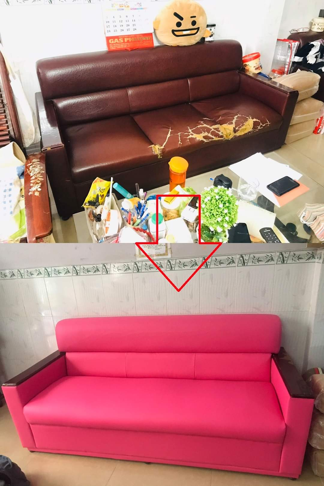 Bọc lại đêm ghế sofa cho Anh Hòa tại Đường Ung Văn Khiêm. Quận Bình Thạnh