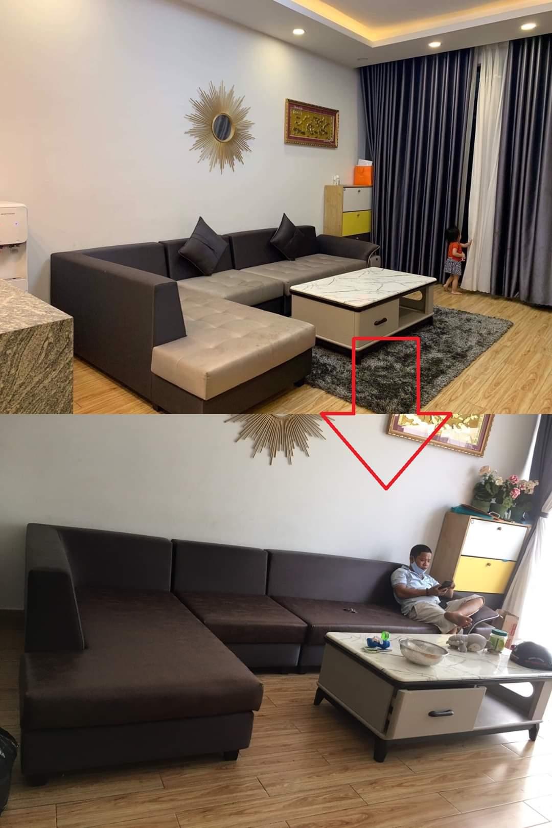 Bọc đêm ghế sofa chữ L cho Chị Chi tại chung cư Hùng Vương, Phường 11, Quận 5