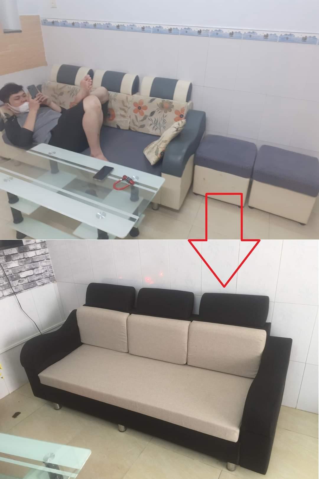 Bọc lại ghế sofa cho Anh Hoàng tại Đường Huỳnh Tấn Phát, Quận 7