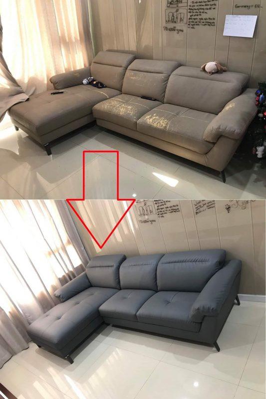 Bọc lại đệm ghế sofa Anh Long tại chung cư VInhome Center Park, Đường Nguyễn Hữu Cảnh, Quận Bình Thạnh
