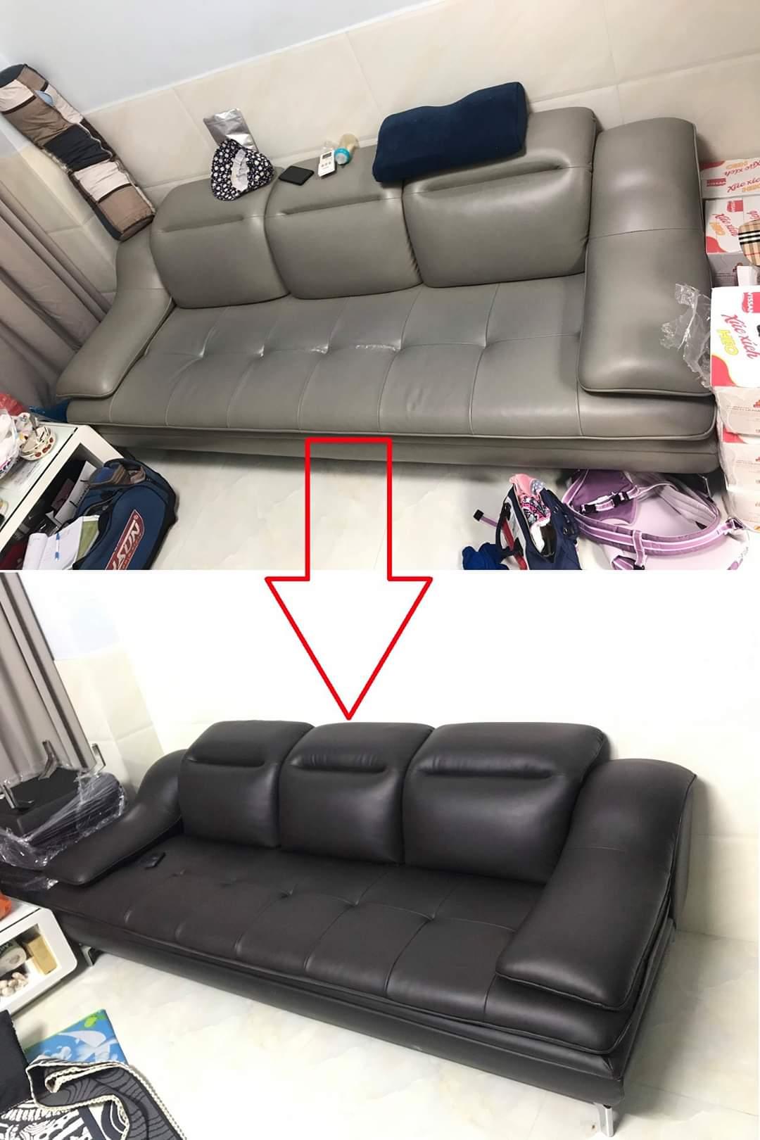 Bọc đệm ghế sofa phòng khách cho Chị Dung tại chung cư Z751, Đường Phan Văn Trị, Quận Gò Vấp