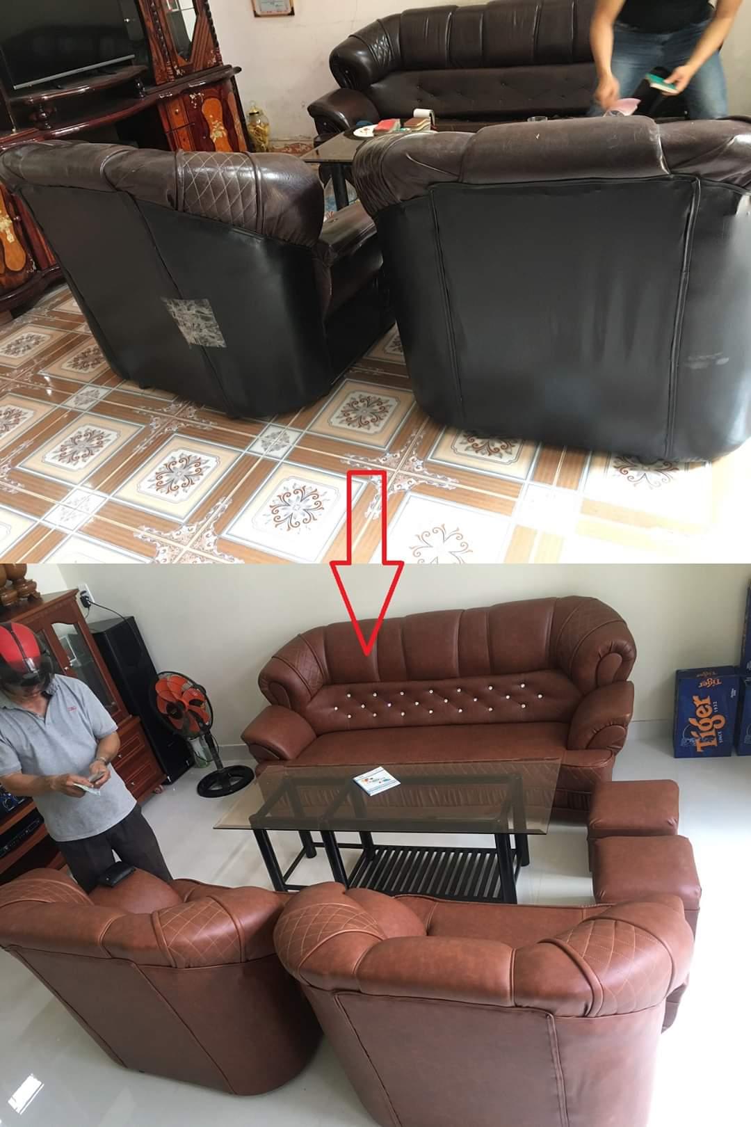 Bọc ghế sofa phòng khách cho gia đình Anh Chiến tại đường Liên Phường, Quận 9