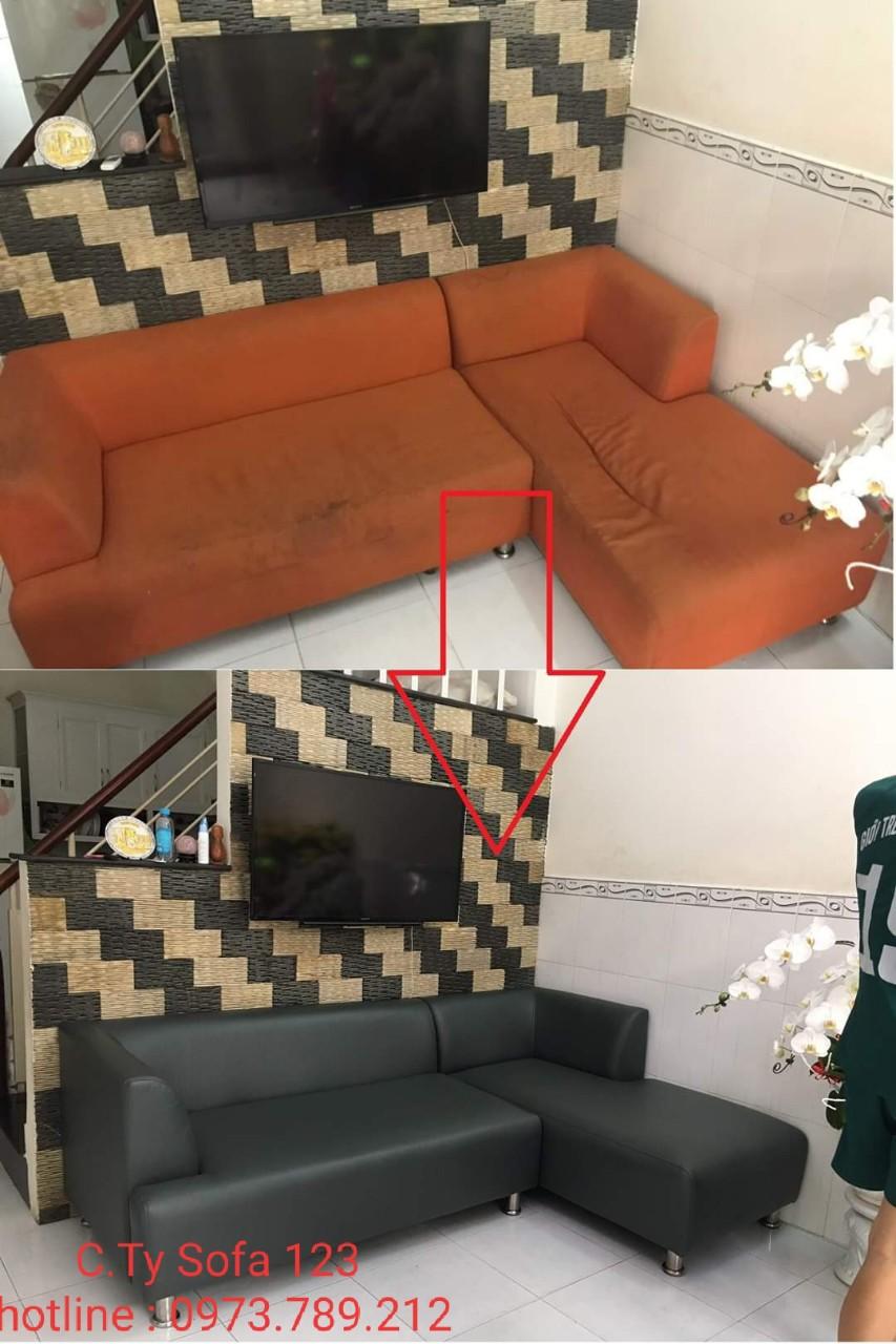 Bọc lại ghế sofa góc chữ L cho Anh Huy tại đường Song Hành, khu phố 2, Quận 9