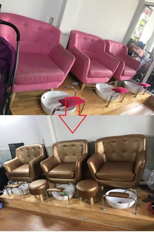 Bọc da ghế sofa cho tiệm nail của Chị Linh tại đường Tăng Nhơn Phú, Quận 9